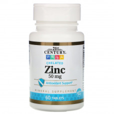 21st Century Zinc Chelated 50mg 60т