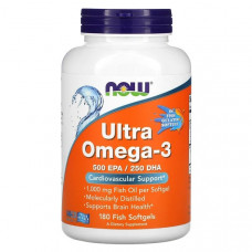 NOW Ultra Omega-3 180 мягких таблеток и рыбьего желатина