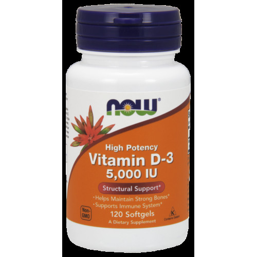 NOW Vitamin D3 5000IU 120сг